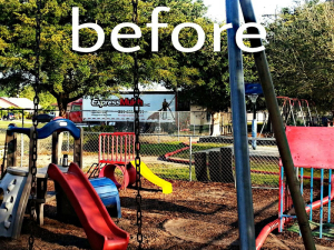Fort Myers playground before mulch installation